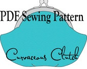 Curvaceous Clutch by Toriska, PDF sewing pattern, digital purse pattern, sewing tutorial, round frame clutch pattern