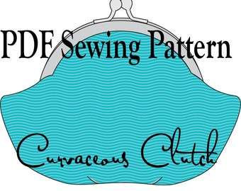 Curvaceous Clutch by Toriska, PDF sewing pattern, digital purse pattern, sewing tutorial, round frame clutch pattern