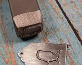 USA, United States Outline Stamp, Beaducation Brand Design Stamp, DIY Metal Stamped Jewlery Tools, Supplies. Alphabet Stamp, Metalworking