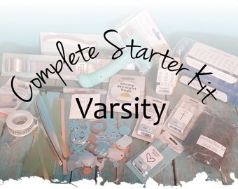 Varsity: Complete Starter Kit for Hand Stamped Jewelry Making, DIY Stamp Kit, Metal Alphabet Set & Hammer, Hole Punch, Block