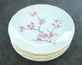 6 Scherzer Bavaria Plates, Pink Cherry Blossom, Vintage Shabby Cottage Chic White Dishes, Dessert, Salad, Germany, Tea Party Bridal Shower