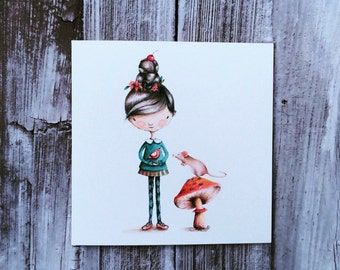 Watercolour Blossom Girl and Mouse Blank Greeting Card
