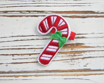 Christmas Clippie -Candy Cane Hair Clip - Christmas Hair Clip