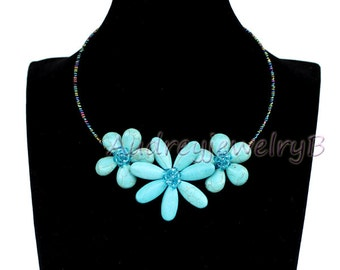 Turquoise  flower necklace Statement Necklace Chunky Necklace Turquoise Necklace bib Necklace Bridesmaid Jewelry