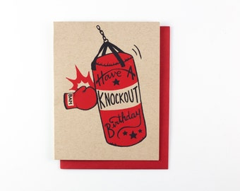 Boxing Knockout bday - screen print card