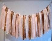 Blush Pink and Gold Ribbon Garland Fabric Wedding Garland Smash Cake Photo Prop Bridal Shower Decor Garland for Cake Table Rustic Wedding