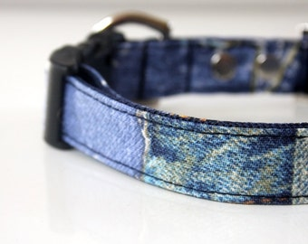 Faded Blue Jeans Print Dog Collar