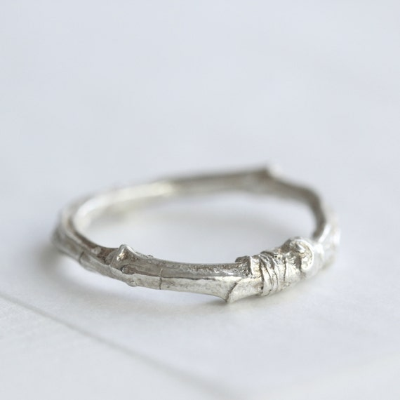 twig wedding ring silver twig ring twig wedding ring cherry tree ring nature 8131