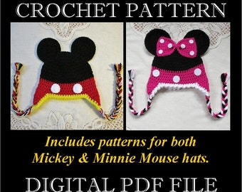 PDF PATTERN - Mickey & Minnie Mouse Inspired Crochet Hat Patterns