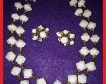 Necklace, Double Strand, Clip On Earrings, Jonne, Vintage 1950s, House of Schrager, Demi Parure, Hollywood Fashion