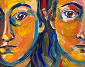 "Twins Painting, original signed art, 12"" x 9"" Sisters Portrait Women Girls."