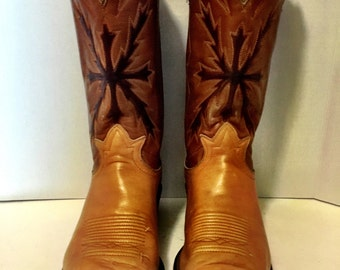 """Tony Lama Tan and Brown stiched and painted Cowboy Boots mens size 8 1/2 women's size 10 to 10 1/2"""""""