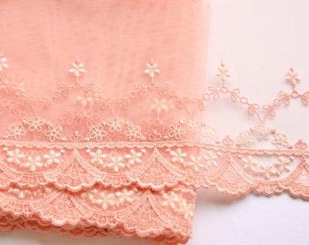 Pale Orange, Peach Lace Trim, Tangerine Lace, Baby Floral Lace, Miniatures Fabric, Lingerie, Dolls, Girls Dresses