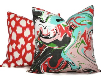 Kate Spade Swirl Marble Multi Pillow Cover Choose your size  Square, Eurosham or Lumbar pillow, Kravet fabric, toss pillow, red throw pillow