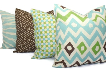 Quadrille Cap Ferrat Aqua Green Brown on Tint Pillow Cover Square or Lumbar pillow, Toss Accent Pillow, Throw Pillow,  China Seas