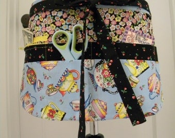 Teacher Apron-Crafter Vendor Utility Apron-Teapots and Flowers