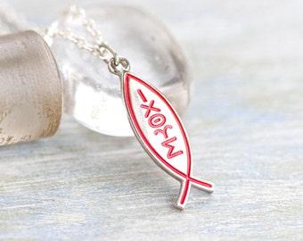 Ixoye Necklace - Christian Fish Pendant on Chain