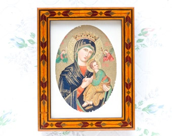 Art Deco Small Wooden Picture Frame - Our Lady of Perpetual Help - Madonna and Child - Made in England