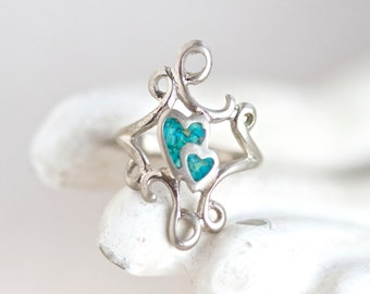 Boho Ring With Turquoise Chip stone Hearts - Twirls Hippie Ring - Size 5.5