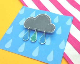 Cute Rain Cloud Brooch with Rain Drops