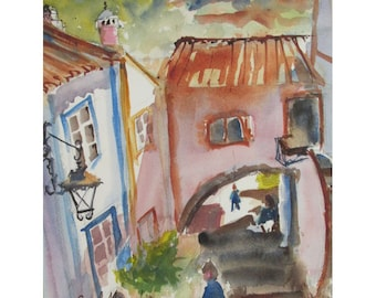 Picturesque Alley in Obidos, Portugal-  an Original Watercolor