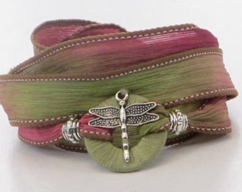 Whirly Wrap, Silk Ribbon, Garden Dragonfly, wrap bracelet, soft pink and green, gardener gift, detailed silver dragonfly, easy secure magnet