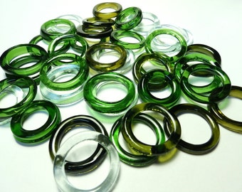 Recycled  Multi Colors Recycled Kiln Polished Bottle Rings 36 Rings (R986)