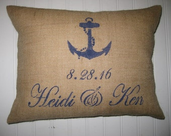 """Nautical Pillow Cover - ANCHOR,DATE,NAME-12x18"""" or 12x16""""- Shabby chic, french country home decor- Nautical wedding decor- choose your color"""
