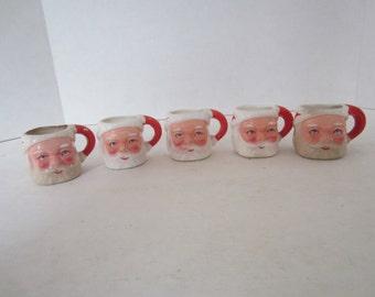 Set of 5 Santa Claus Mini Mugs, Cups or Shot Glasses