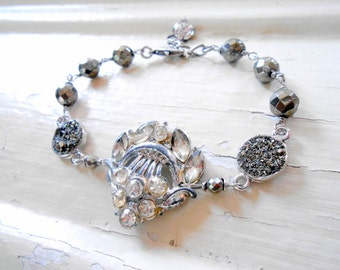 Rhinestone Pyrite Assemblage Bracelet, Paste, Pot Metal, Dress Clip, Druzy Quartz, Repurposed Vintage, Upcycled, Recycled