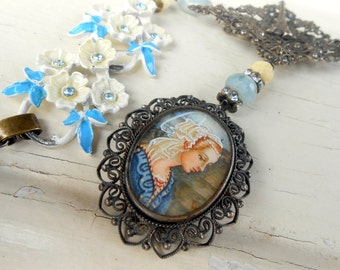 Handpainted Portrait Necklace, Assemblage, Cameo, Madonna Delle Rocce, Lippi, Antique, Sterling Silver, Rhinestone, Repurposed, Upcycled