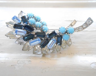 Vintage Schoffel Rhinestone Brooch, Pin, Austria, Designer Signed, Rare, Collectible, Blue, Leaf, Swirl, Clear, Crystal