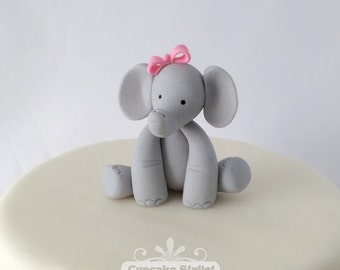 "4"" tall Elephant Cake Topper, wearing Bow, by Cupcake Stylist on Etsy"