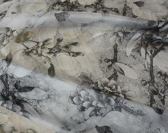 on sale promotion chinese folk vintage ink brushed painted black and white Yulan magnolia flower chiffon fabric 1 yard for cheongsam dress