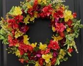 Floral Door Wreath - Summer Wreath - Flower Wreath - Handmade Wreath
