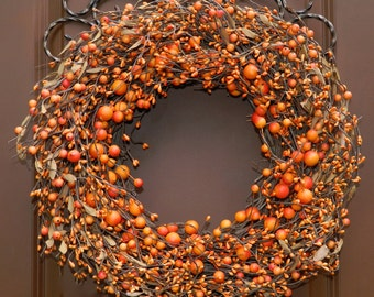 Berry Wreath Pumpkin - Fall Wreath - Autumn Door Decor