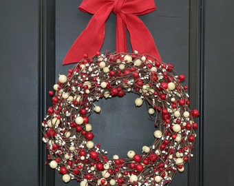 Christmas Wreath - Red Wreath - Holiday Wreath - Many Bow Options To Choose
