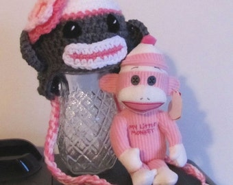 sock monkey hat & pink monkey doll for newborn