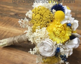 Dried Yellow and Blue Flower Wedding Bouquet - natural, keepsake, alternative, sola, hydrangea, billy balls craspedia *Sunny Collection*