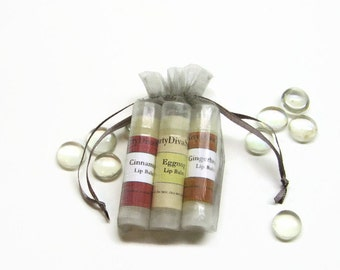 Winter Lip Balm 3 Pack ,  Moisturizing Lip Balm with Shea Butter in Your Choice Of Flavors