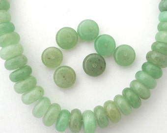 20pcs Sage green Jade gemstone coin beads, gemstone space beads