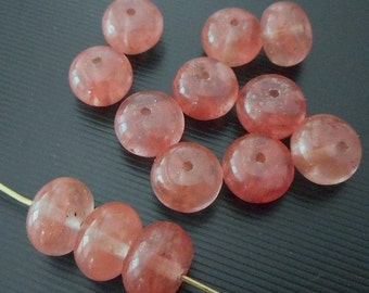 20pcs-9mmX5mm-pink Watermelon Quartz gemstone rondelle beads, space beads set