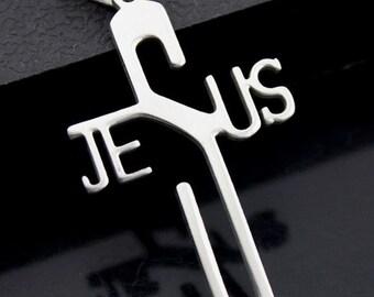 "1.75"" Plished stainless steel Jesus Charm pendants-silver Jesus Charm PENDANT"