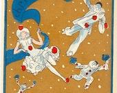 Original Art Deco Pochoir French Christmas Card 1930s