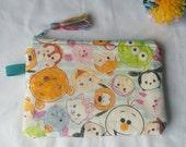 Pochette de TSUM-tsum, kawaii tsum tsum, pochette cadeau pour elle, pochette, coton à la main, japonais