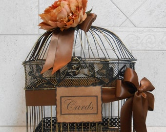 Large Birdcage Wedding Card Holder / Rustic Birdcage / Fall Wedding Birdcage Card Holder / Card Box / Fall Wedding Decorations / Rustic Cage