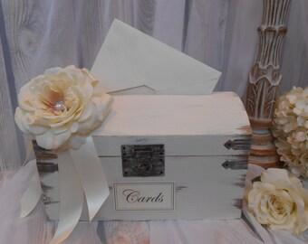 Slotted Wedding Card Box / Elegant Wedding Card Trunk / Antique Wedding Card Holder / Ivory Rose Wedding Card Trunk / Wedding Decor