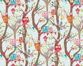 20 x 20 LAMINATED cotton fabric (aka oilcloth, vinyl, coated fabric) - Owl Tree Party on blue EXCLUSIVE tested safe for children's products