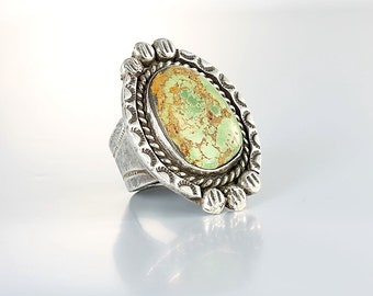 Royston Turquoise Mens Ring, Navajo size 9 sterling silver ring jewelry, Southwestern