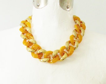Vintage AMPCP Amber Gold Chunky Link Necklace MoD signed